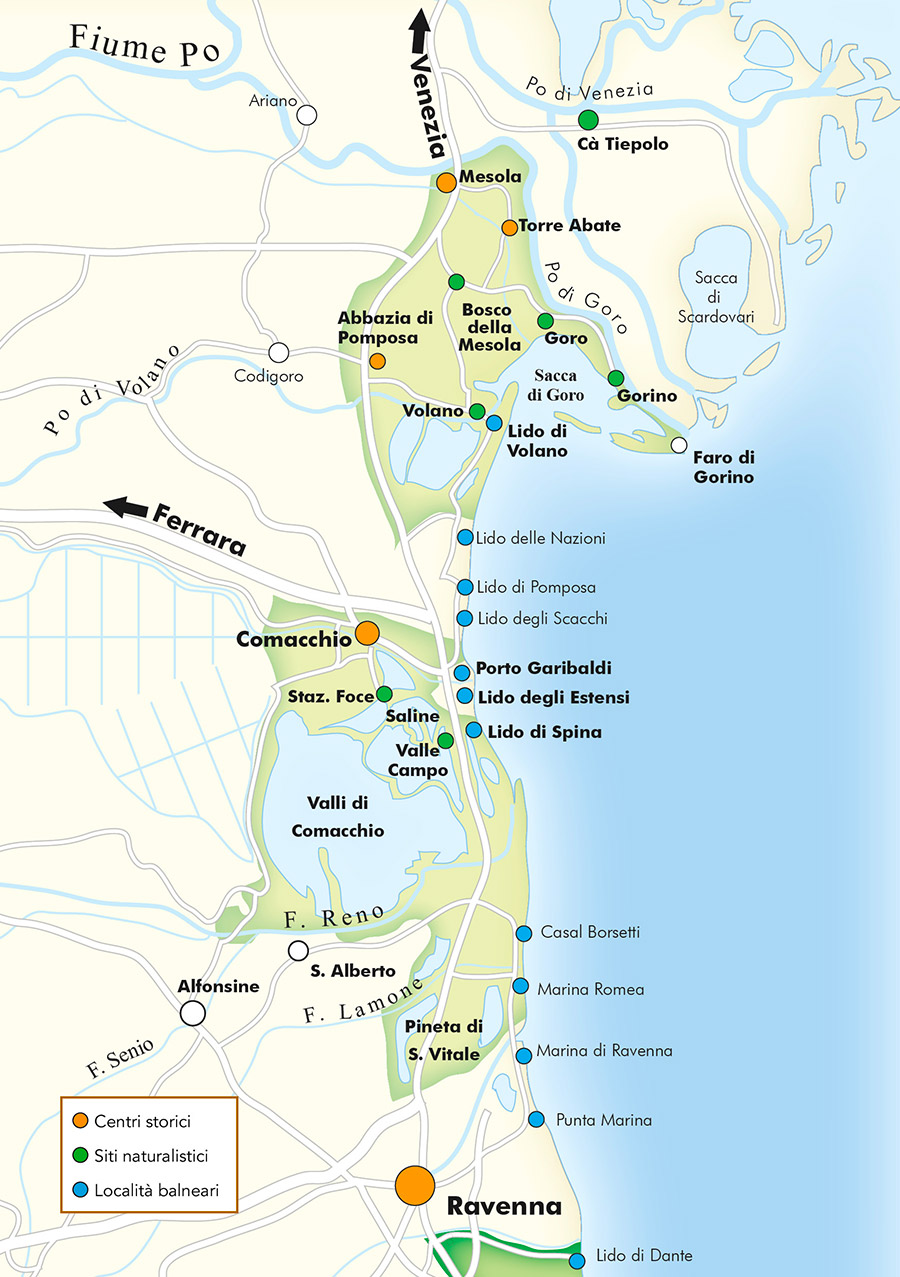 Map Tourism in Po Delta Park Riviera